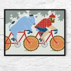 Paul Bunyan and Babe the Blue Ox Bike Print (11x14)