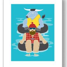 Paul Bunyan Tubing Print (8x10)