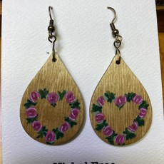 Wisco Cheer Wood Earring Floral Heart