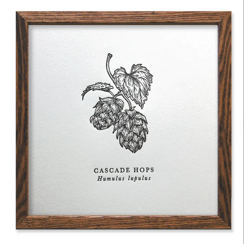 Cascade Hops Letterpress Print (8x8)