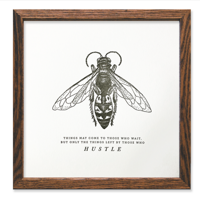 Bee Hustle Letterpress Print (8x8)