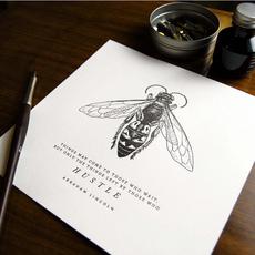 Bee Hustle Letterpress Print (8x8)