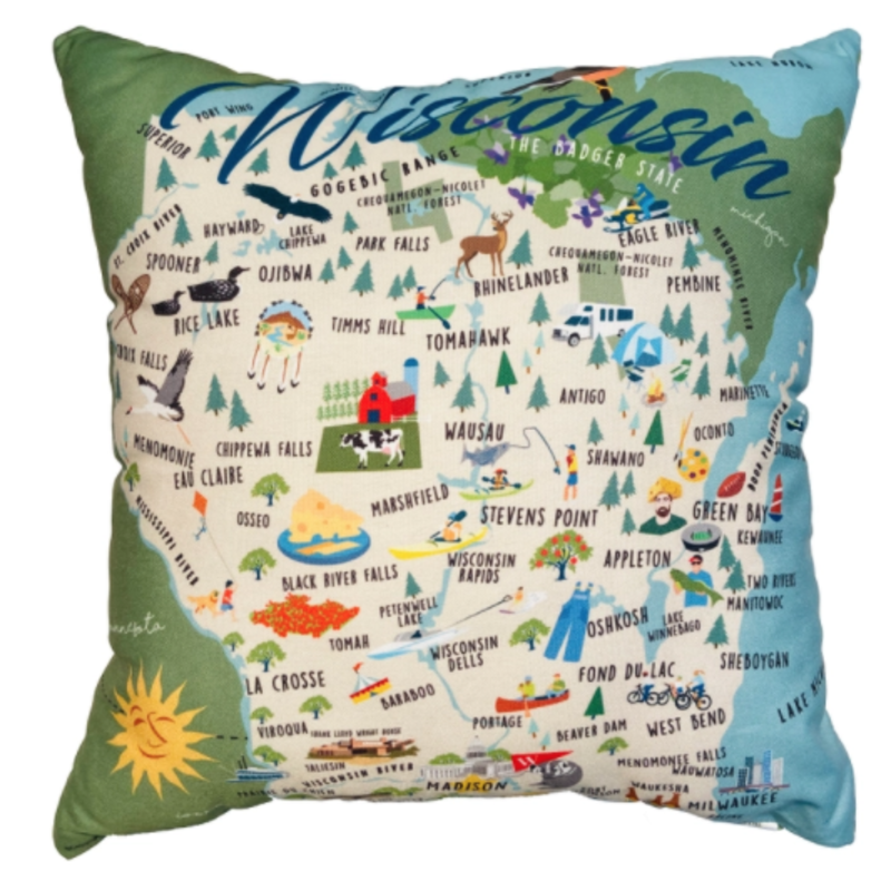 Volume One Whimsical Wisconsin Pillow