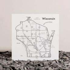 Wisconsin Map Print (8x8)
