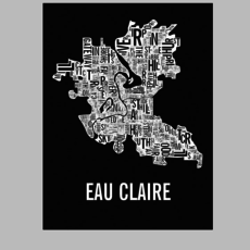 Volume One Eau Claire Neighborhoods Print in Black