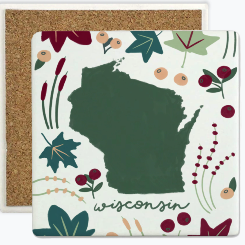 Tandem for Two Sandstone Coaster - Wisconsin Flora & Fauna
