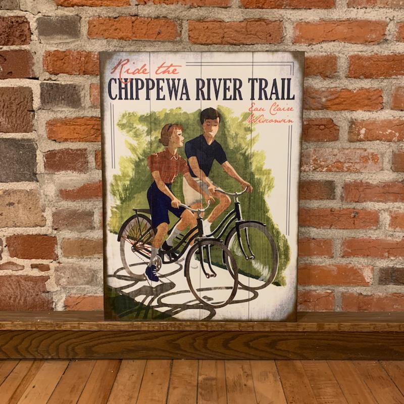 Volume One Wood Sign - Ride the Chippewa River Trail (17x23)