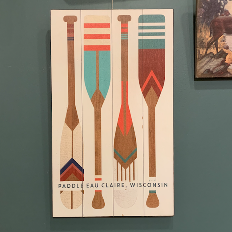 Volume One Paddle Eau Claire (Oars) Wooden Sign (14x24)