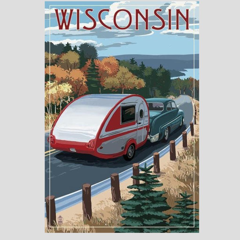 Volume One Wisconsin Retro Camper & Lake Print (12x18)