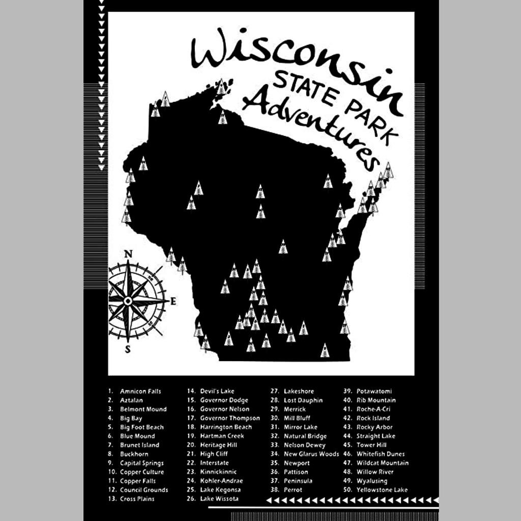 Wisconsin State Parks Checklist Print