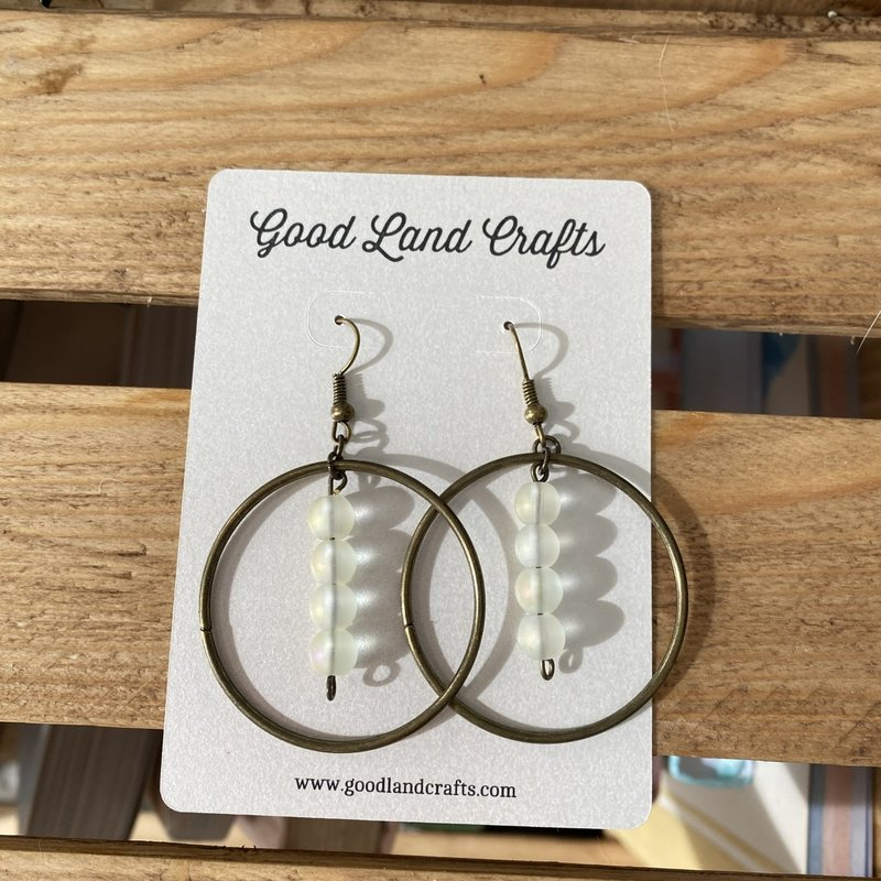 Beaded Hoop Earrings (Brass w/ Opal)