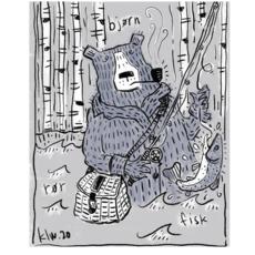 Bear Fisherman Print (11x14)