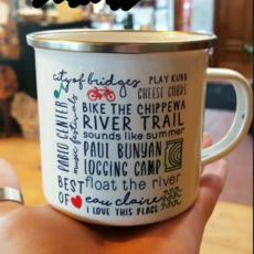 Tandem for Two Enamel Camp Mug - Eau Claire Bucket List
