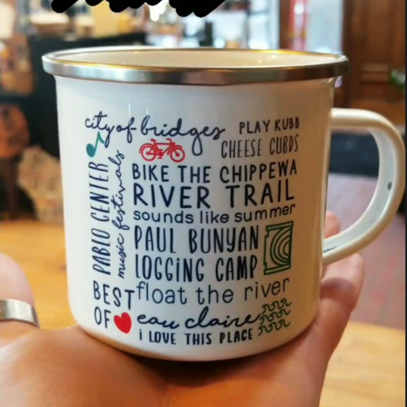 Tandem for Two Enamel Camp Mug - Eau Claire Bucket List