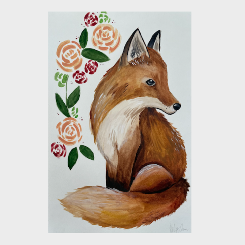 Watercolor Fox Print (11x18)