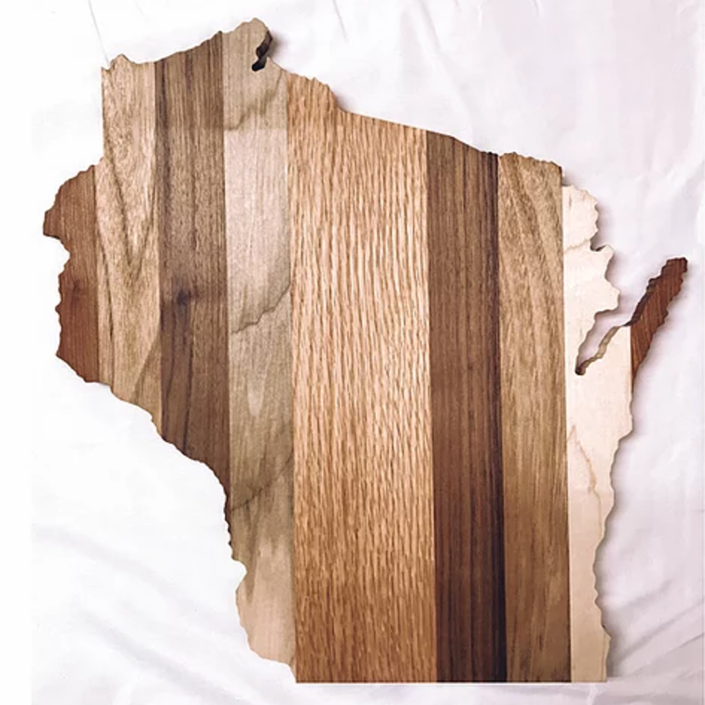 Wisconsin Shaped Charcuterie Board - (14x15)