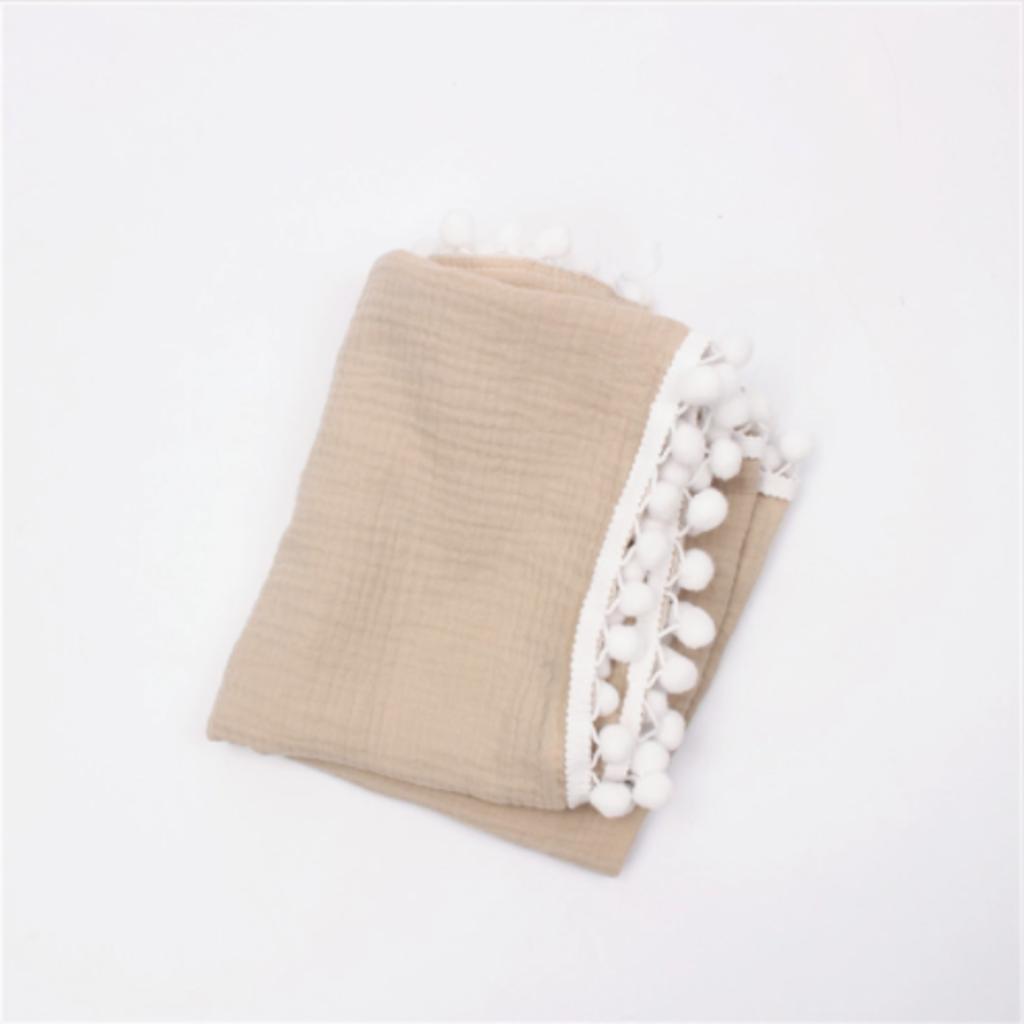 Pom Pom Baby Blanket - Tan