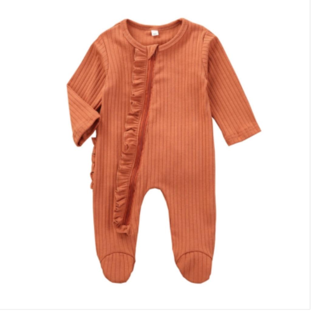Neutral Zip Footed Bodysuit - Sunset Orange