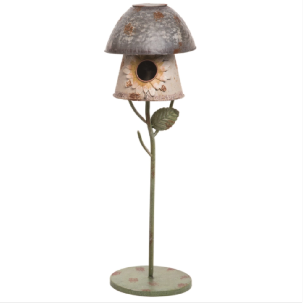 Volume One Metal 25 in. Multicolor Bird House on Stand