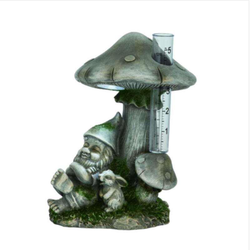 Volume One Grey Gnome Under Mushroom Rain Gauge