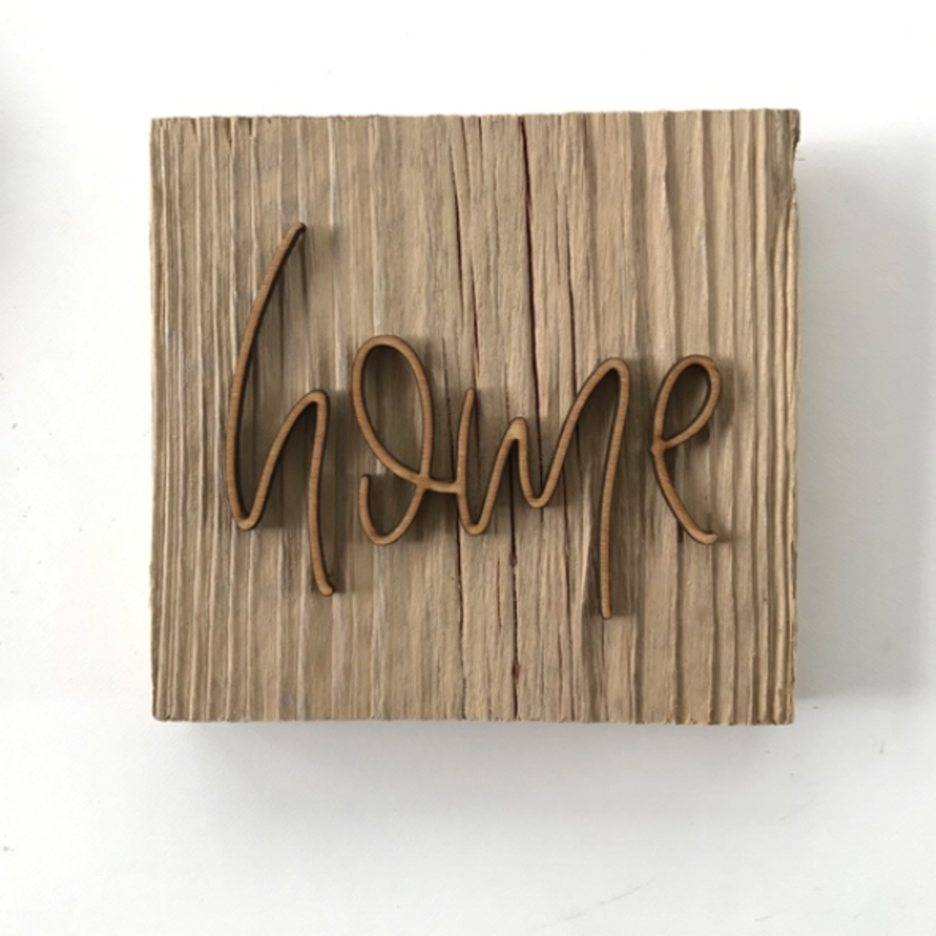 Mini Home Wood Block Wall Art