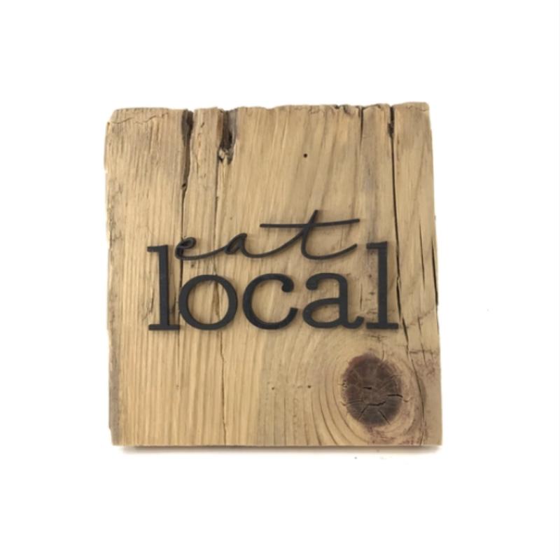 Eat Local Reclaimed Wood Wall Art