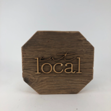 Eat Local Reclaimed Wood Wall Art