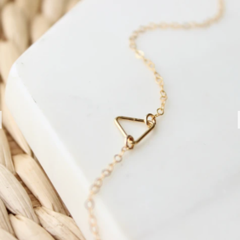 Adorn Jewelry Tiny Triangle Open Necklace - Gold