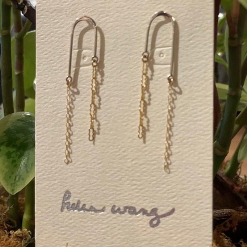 Helen Wang Jewelry Earrings - Sterling Silver Arch Gold Chain