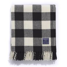 Wool Throw - Buffalo Check White/Black