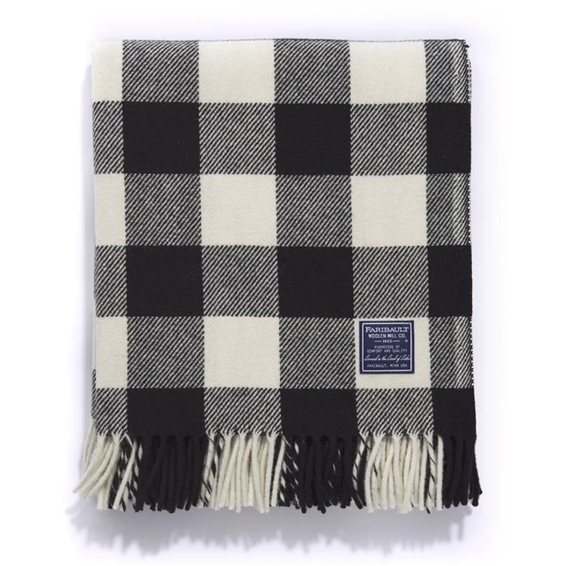 Wool Throw - Buffalo Check White/Black