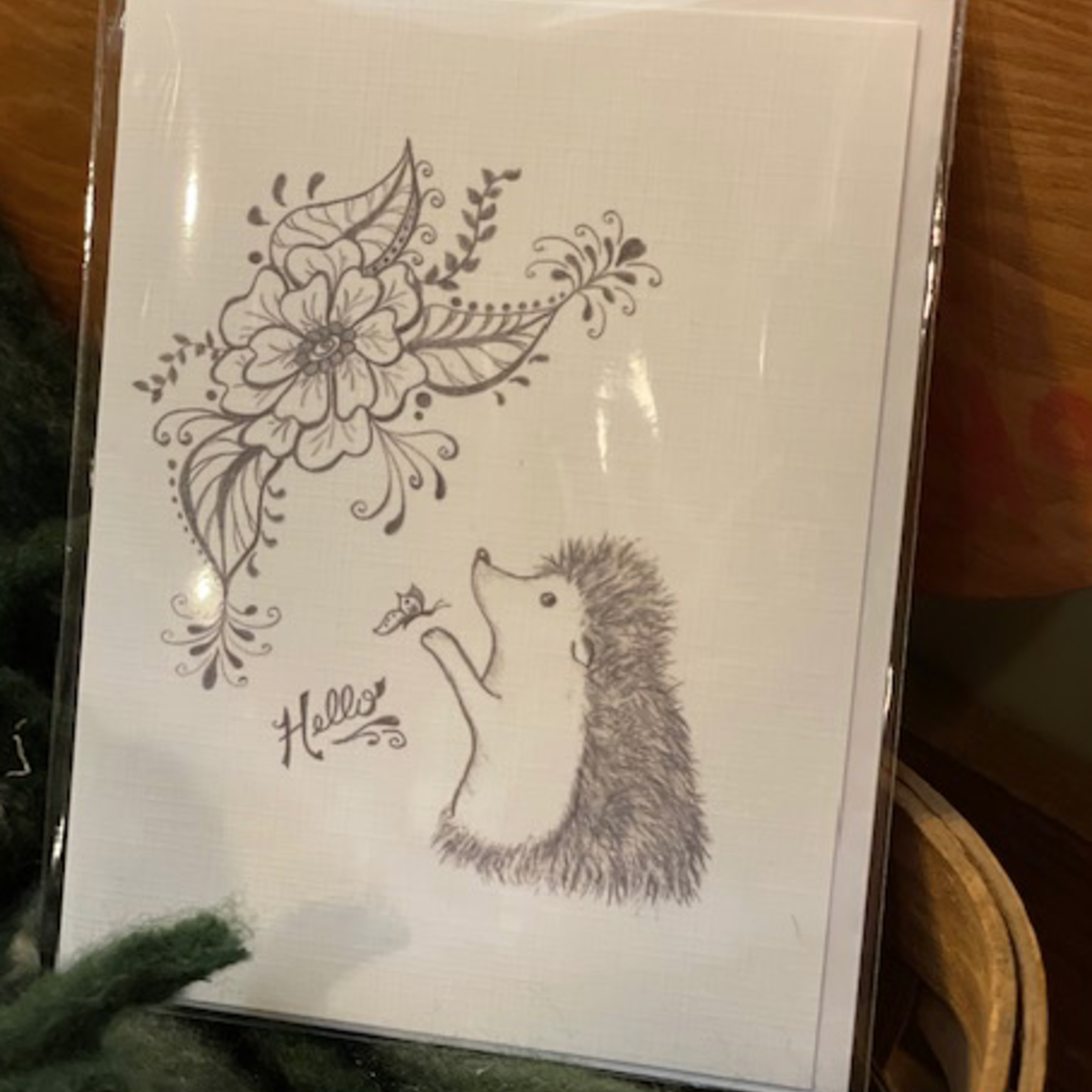 Nadine Bresina Hedgehog Hello Greeting Card
