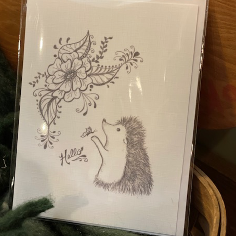 Nadine Bresina Hedgehog Hello Greeting Card