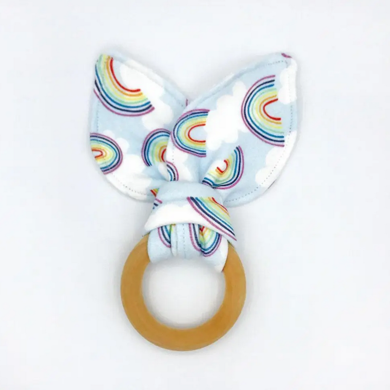 Rainbow Sky Organic Cotton/Maple Teether