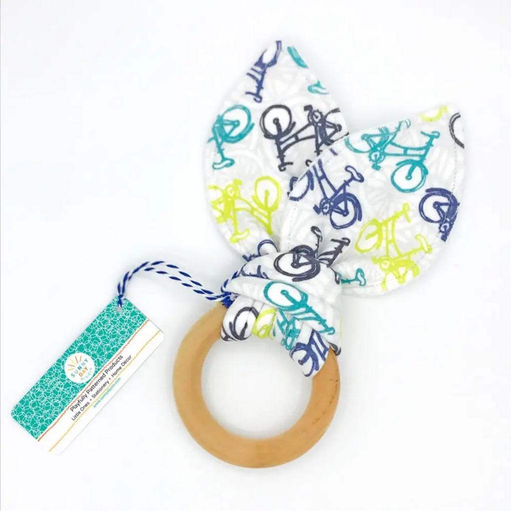 Whimsical Wheelies Organic Cotton/Maple Teether