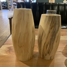Tall Spalted Chestnut Wood Vase (w/ glass insert)