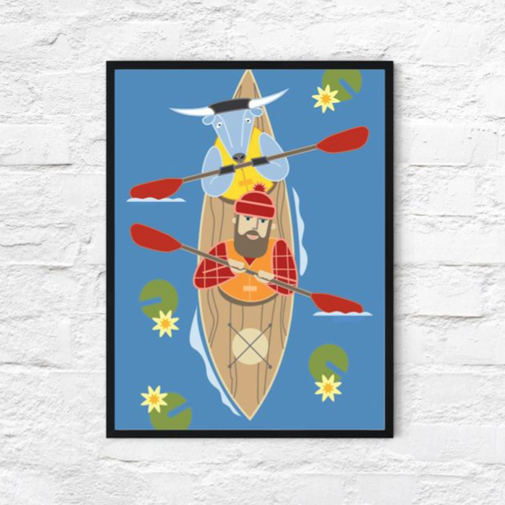 Paul Bunyan and Babe the Blue Ox Kayak (18x24)