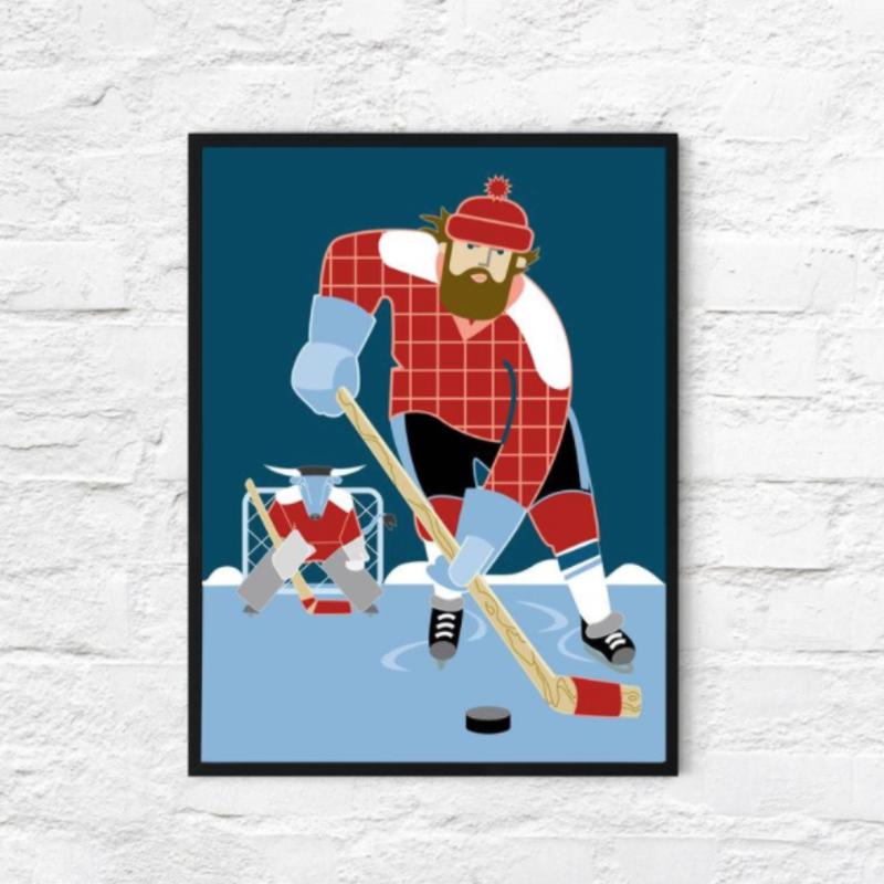 Paul Bunyan and Babe the Blue Ox Play Hockey (18x24)