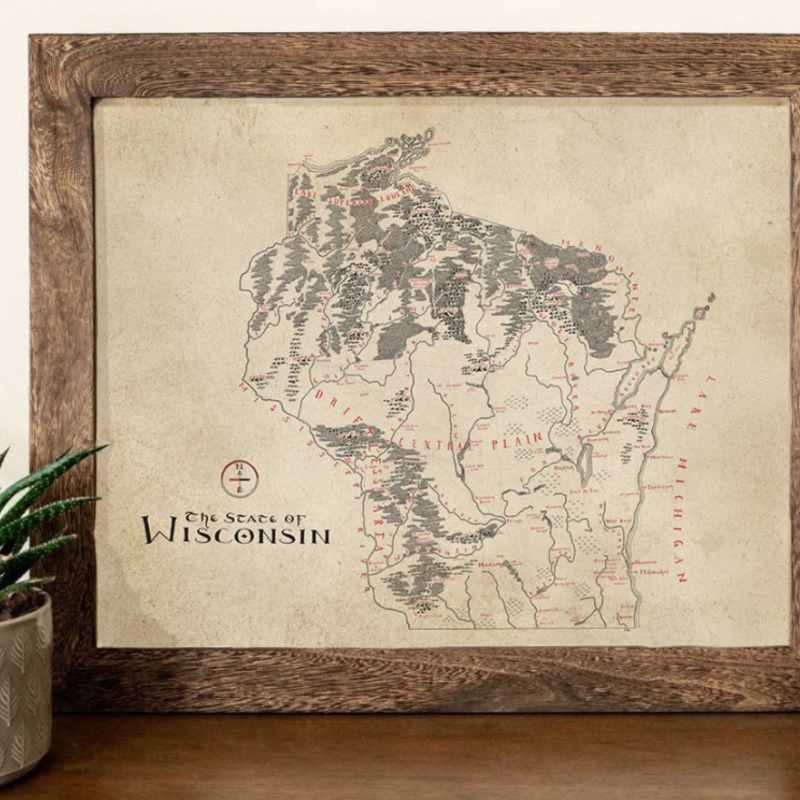 Wisconsin Vintage Map (Aged-Look) - 12x16