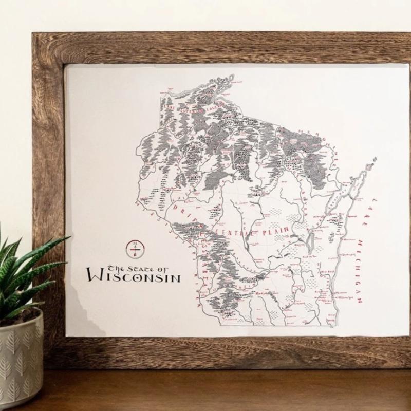 Wisconsin Vintage Map (Original) - 12x16