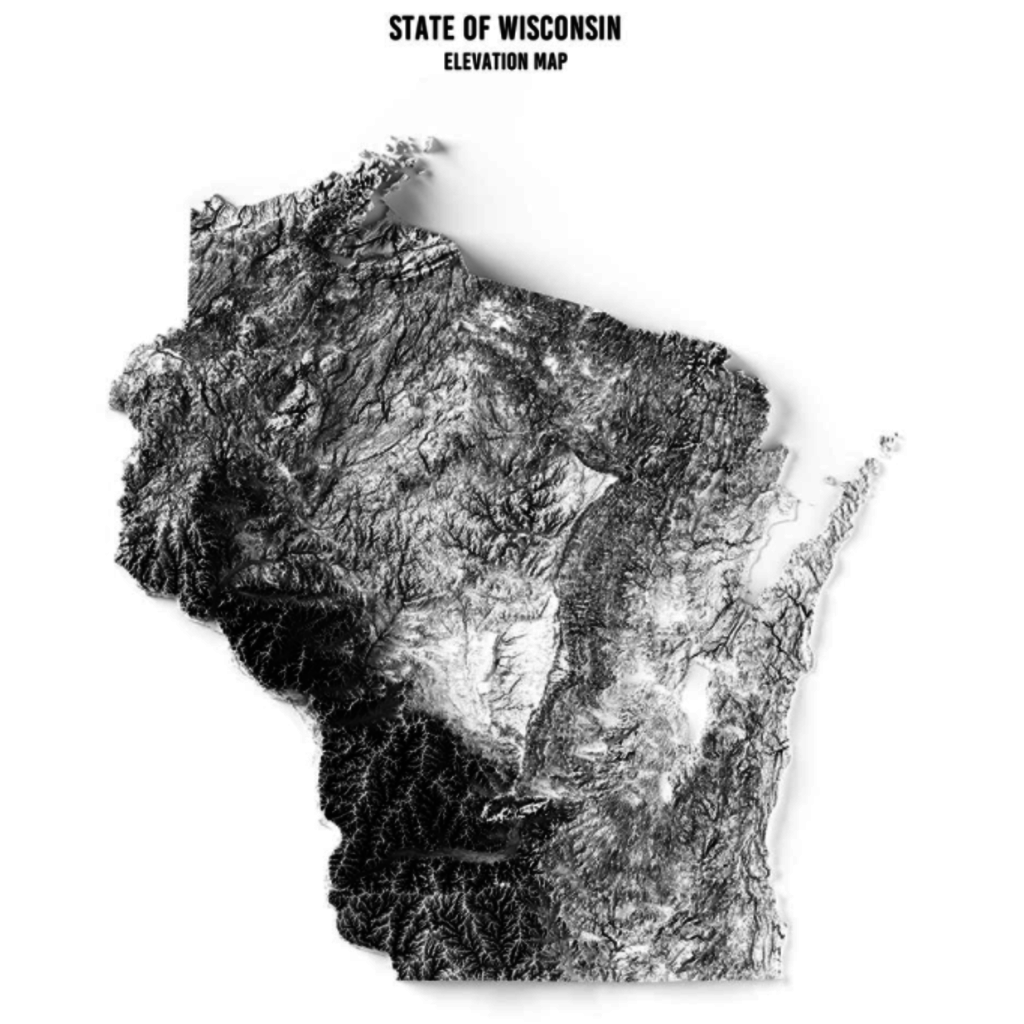 Wisconsin Elevation Map Print (18x14)