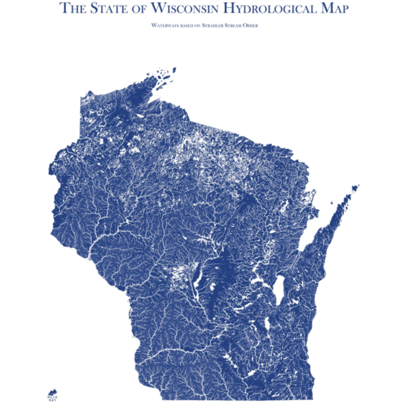 Wisconsin Hydrological Map (18x24)