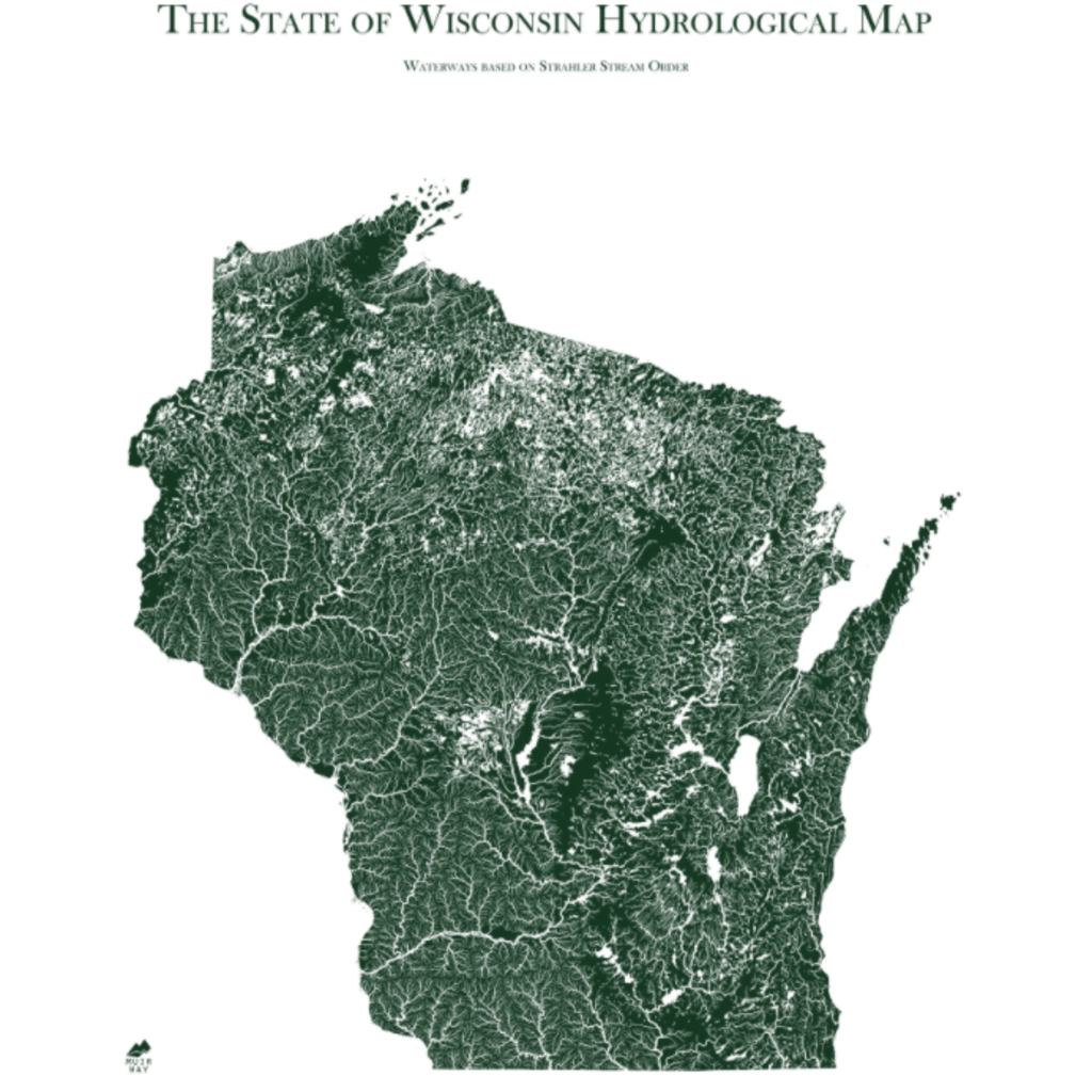 Wisconsin Hydrological Map (18x14)