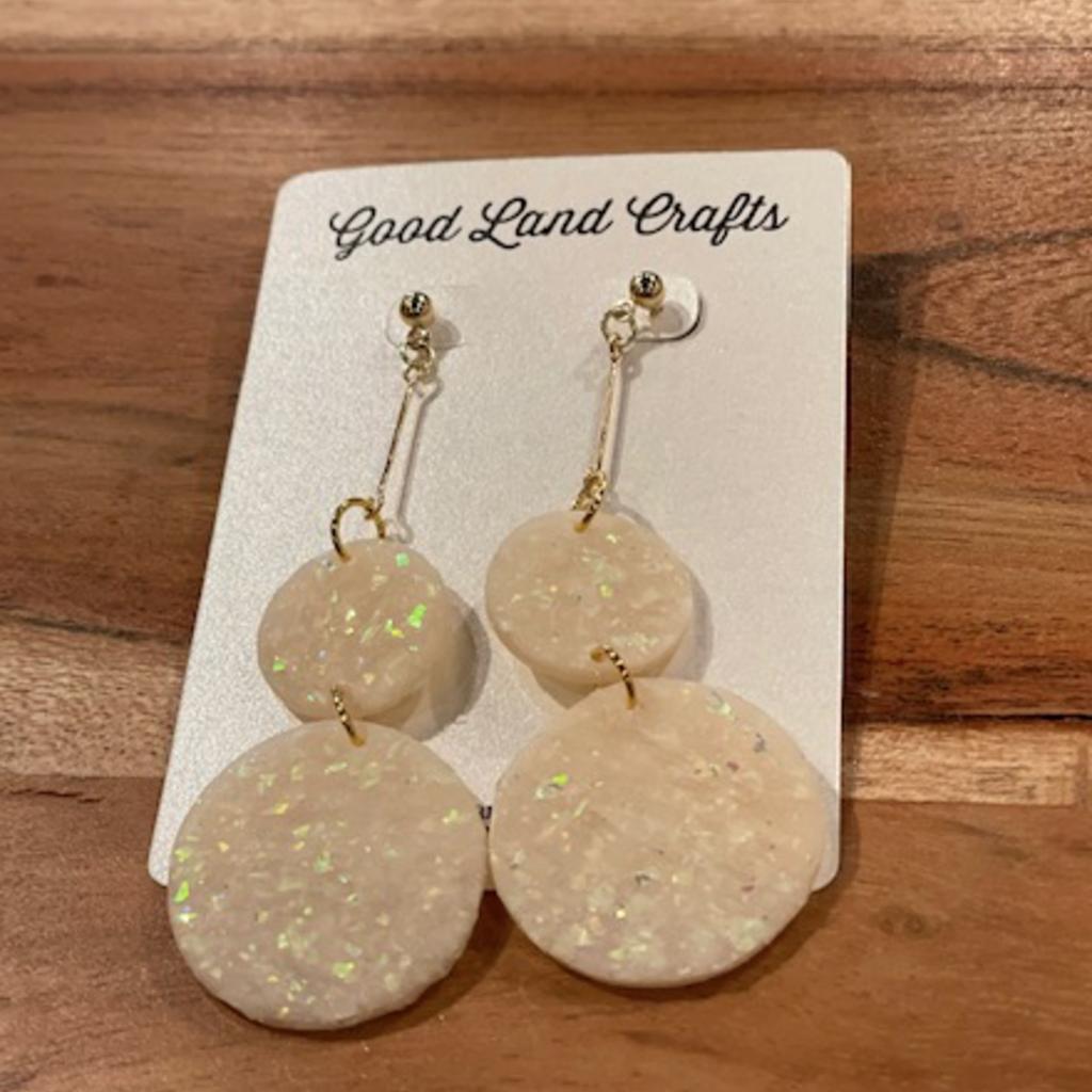 Hanging Opal Circles Earrings