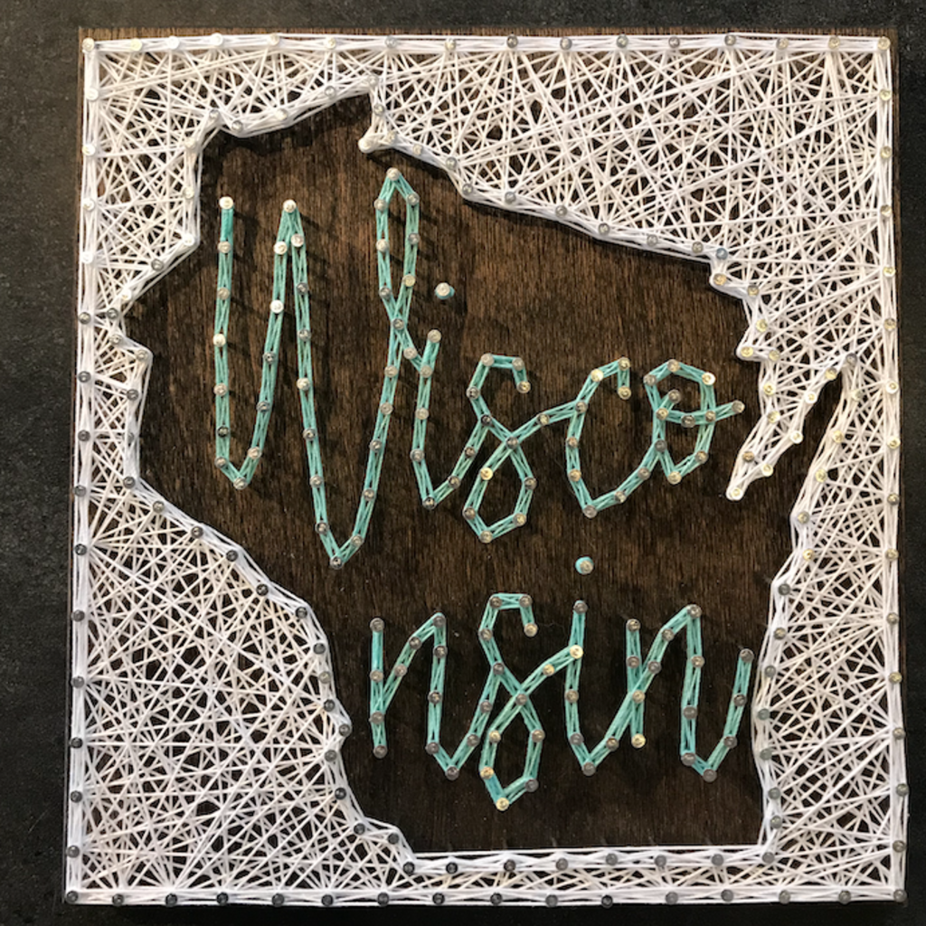 Strung on Nails String Art - Wisconsin Cursive Text