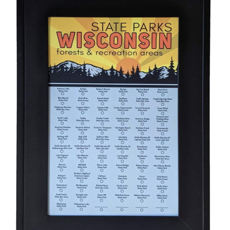 Wisconsin State Park Checklist Map (Color)