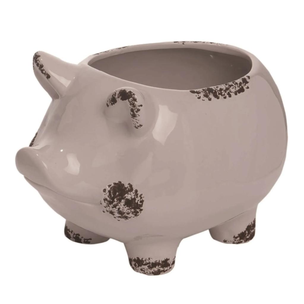 Ceramic 12 in. Weathered Pig Planter