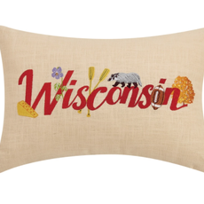 Volume One Wisconsin Embroidered Pillow