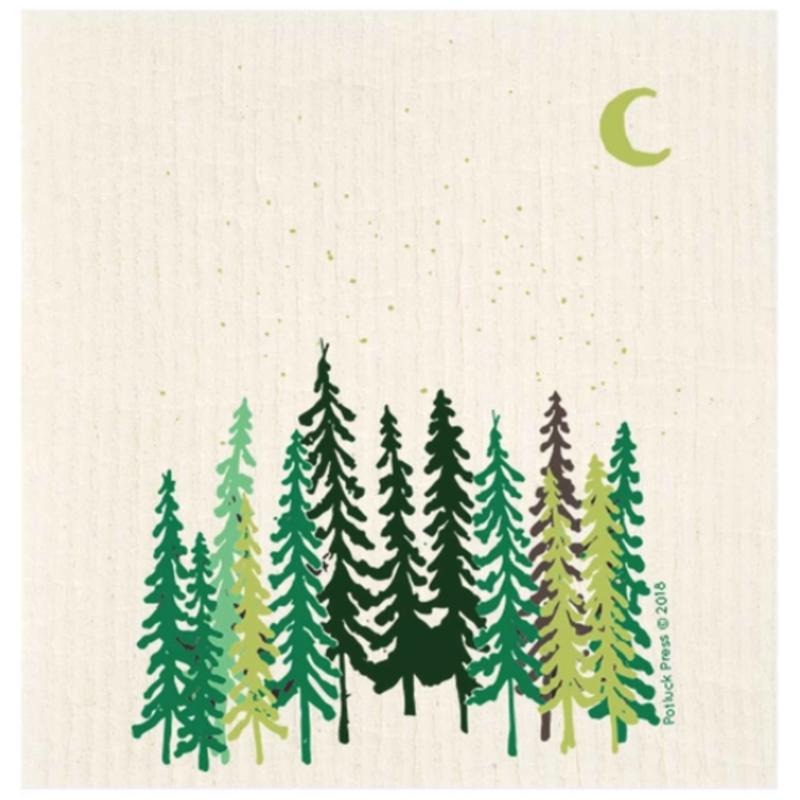 Swedish Dishcloth - Tall Trees and Moon