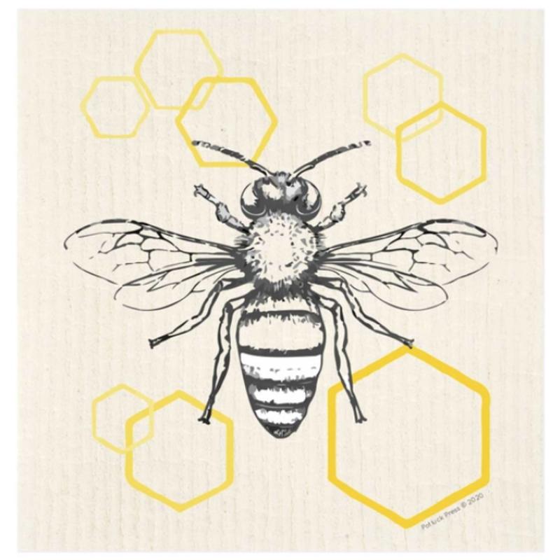 Swedish Dishcloth - Bee on Hexagon